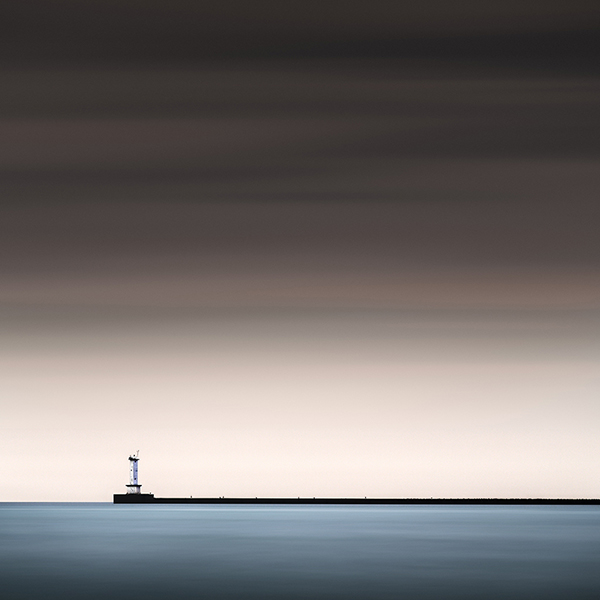 Long exposure breakwater lorain harbor ohio lighthouse