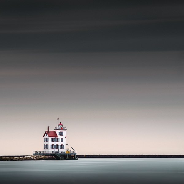 Lorain West Breakwater Lighthouse Ohio Seascape
