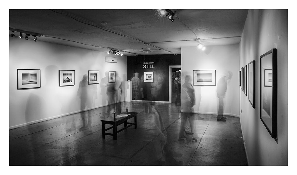 Long exposure photography art gallery opening