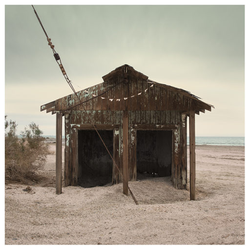 abandoned beach hut ruins at the Salton Sea by Johnny Kerr