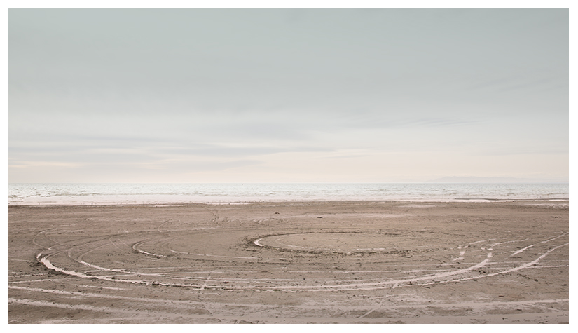 minimalist landscape eccentric circles on the salton sea beach by Johnny Kerr
