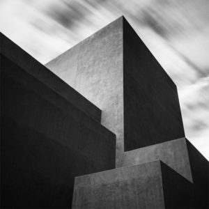Abstracted architecture presented in black and white